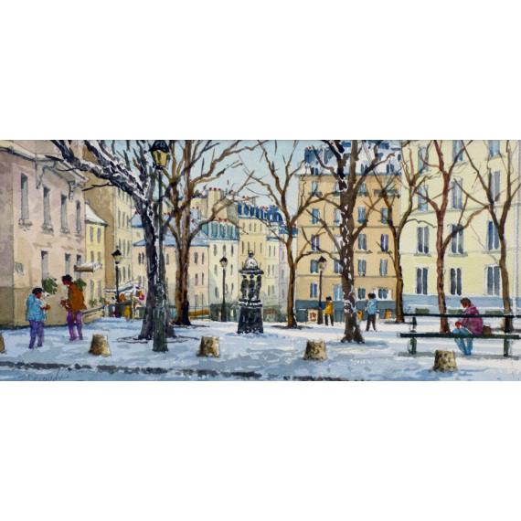 La Place Émile Goudeau, Le Bateau Lavoir, Montmartre, Paris
