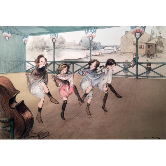 Quatre petites filles dansant le French Cancan à Paris