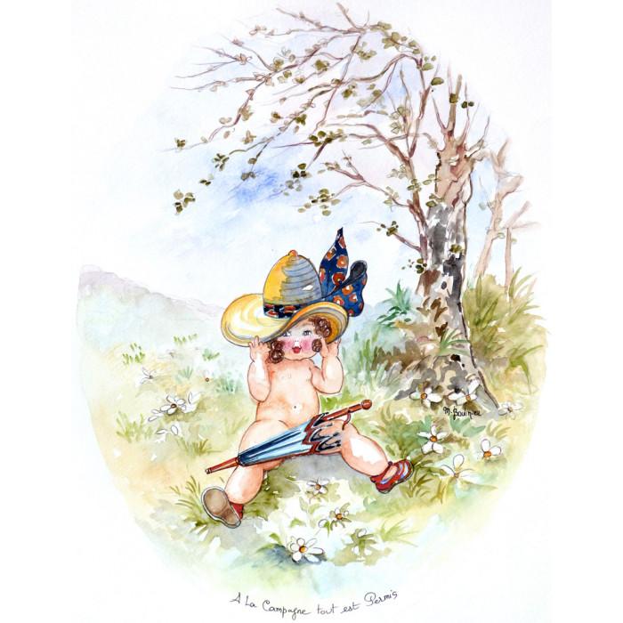 À la campagne, tout est permis, un petit bébé avec un chapeau et un parapluie