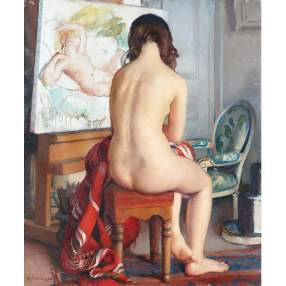 The model, a sitting nude at the studio of the artist.