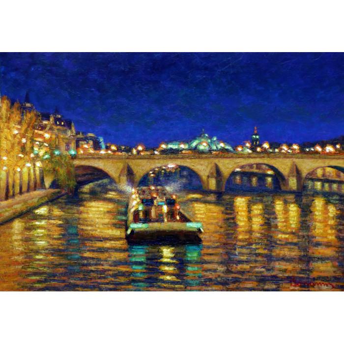 Le Pont sur la Seine à Paris la Nuit