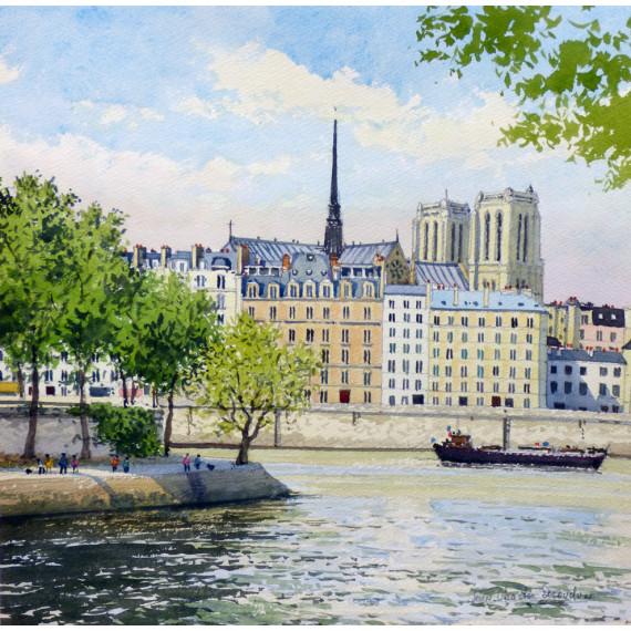The boat on the Seine River in Paris, with Notre-Dame de Paris