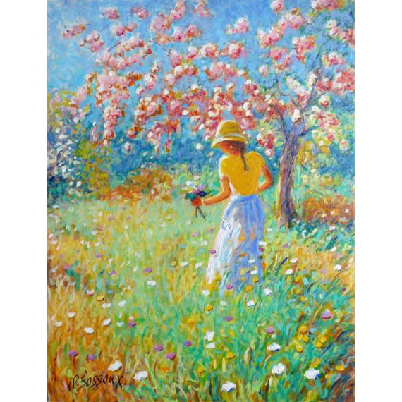 La Jeune Fille au bouquet dans les champs en Fleurs
