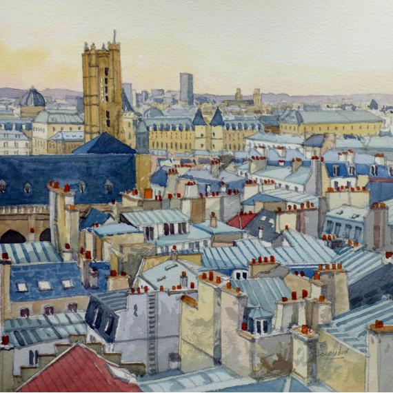La Tour Sébastopol vue des Toits de Paris