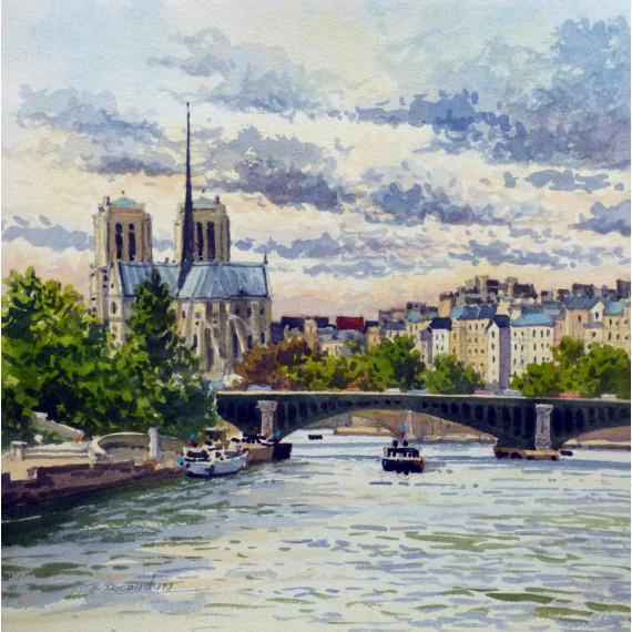 The Chevet of the Cathedrale Notre-Dame de Paris, the Seine river