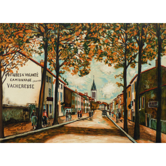 Village, Vacheresse, route National à Anse, Rhône, 1925
