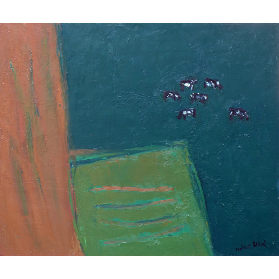 Cows on dark green, 1980