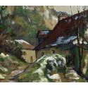 Albert Joulin - Paysage de la vienne ( France ) - hiver ruines d'angles a joulin