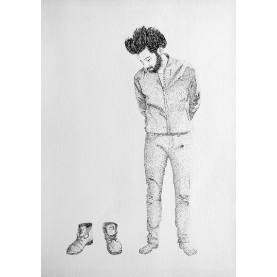 Drawing - Beside his shoes