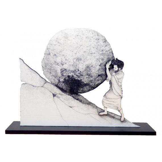 Sculpture - Pousser le rocher de Sisyphe