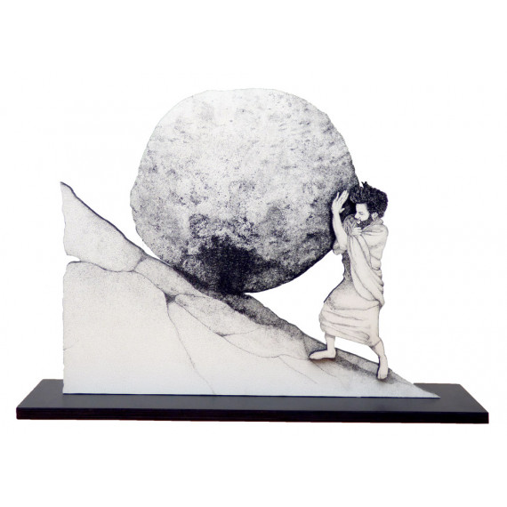 Sculpture - Push the rock of Sisyphus