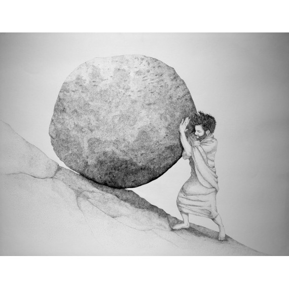 Sérigraphie - Pousser le rocher de Sisyphe