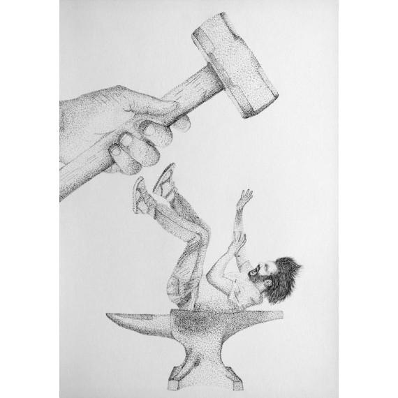 Sérigraphie - Etre entre le marteau et l'enclume