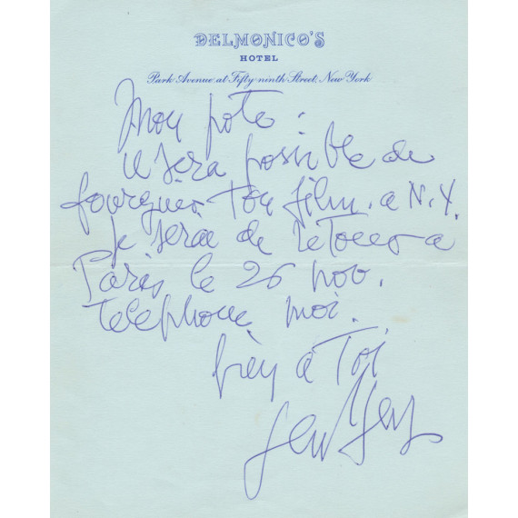 LETTER - November 1968 Delmonico's New York