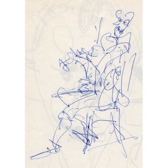 Drawing Front / Back Head of Clown and Seated Violinist-gen-paul