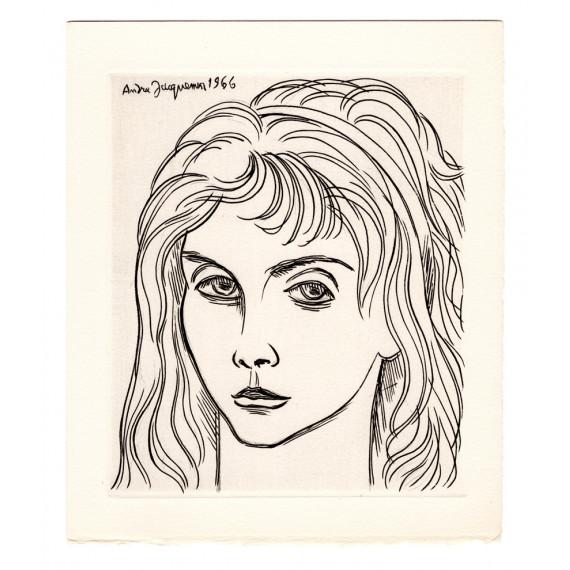 André Jacquemin - a woman portrait - 1966