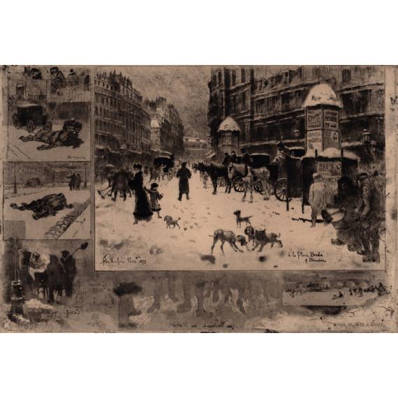 Félix Buhot - Place Bréda - Hivers de 1879 à Paris