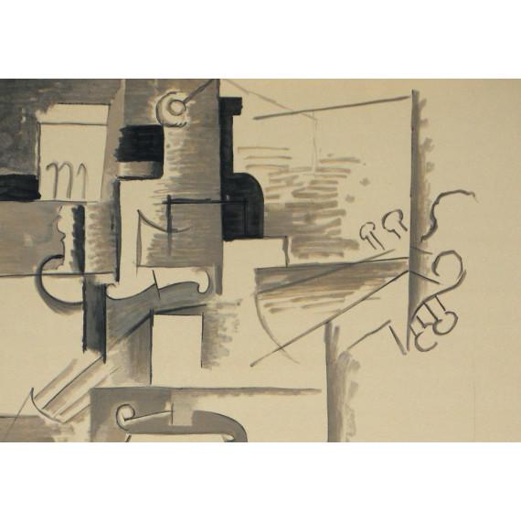 Pablo Picasso - Bouteille et violon - Cubisme