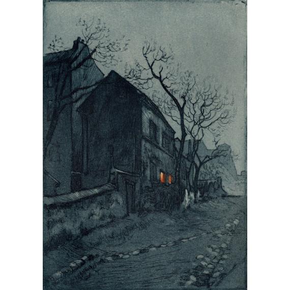 Aquatinte - Lapin Agile de Nuit - Montmartre