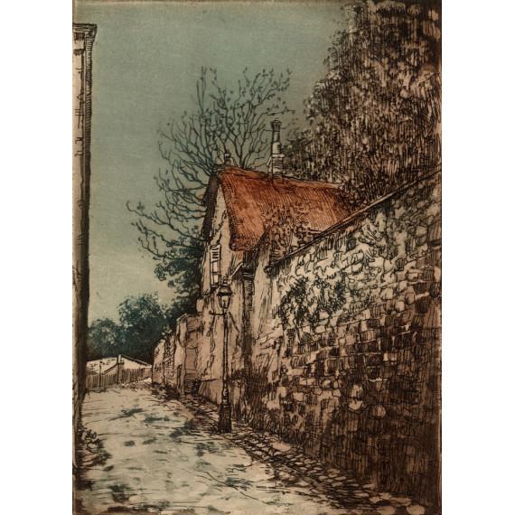 Aquatinte - La Maison au toit de Chaume - Montmartre