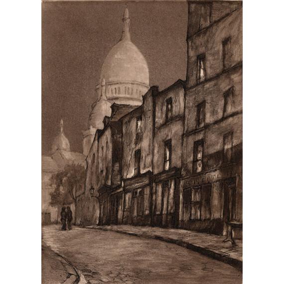 Aquatinte - Rue du Chevalier de la Barre - Montmartre