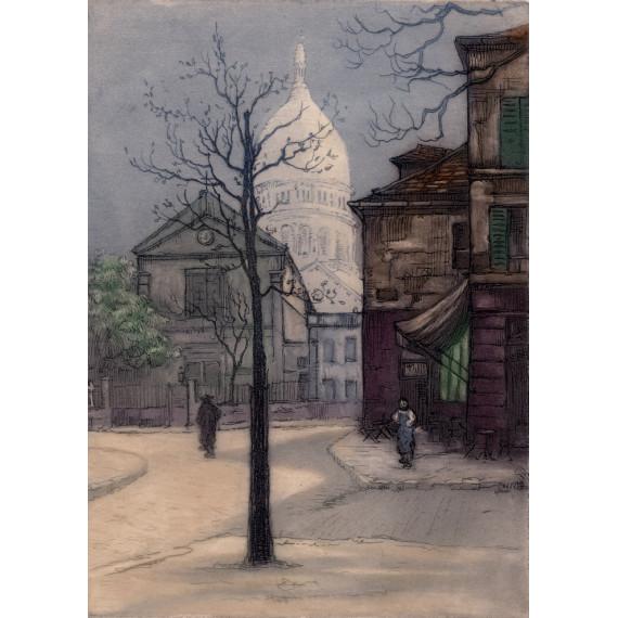 Aquatinte - Église Saint-Pierre, le Sacré-Coeur - Montmartre