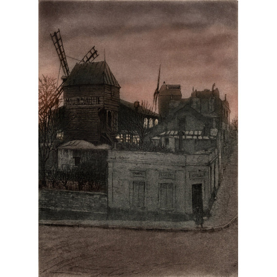 Aquatinte - Le Moulin Debray, Le moulin de la Galette - Montmartre