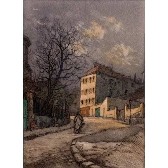 Aquatinte - Le haut de la rue Lepic, Place Jean-Baptiste Clément - Montmartre