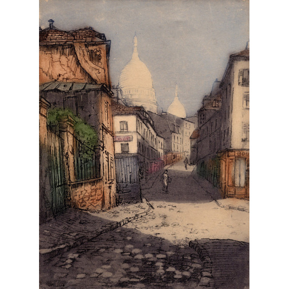 Aquatinte - La rue Norvins - Montmartre