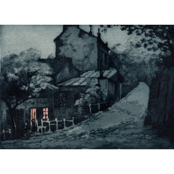 Aquatinte - Le cabaret du Lapin Agile à Montmartre de nuit