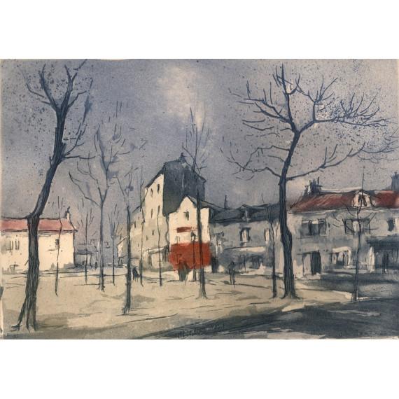 Aquatinte - La Place du Tertre à Montmartre