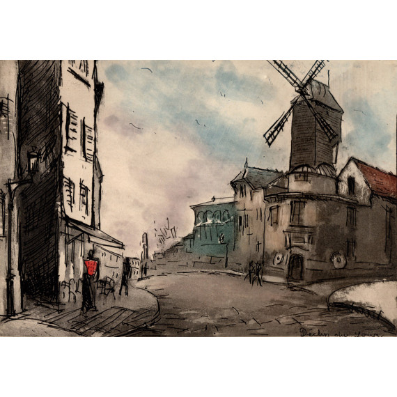 Aquatinte - Déclin du jour, la rue Lepic et le Moulin de la Galette à Montmartre