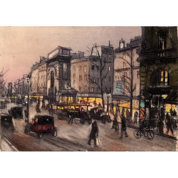 Aquatinte - Autoportrait Porte Saint-Martin à Paris