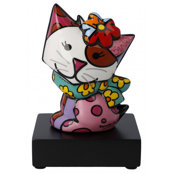 Le petit chat au foulard -sculpture-romero-britto
