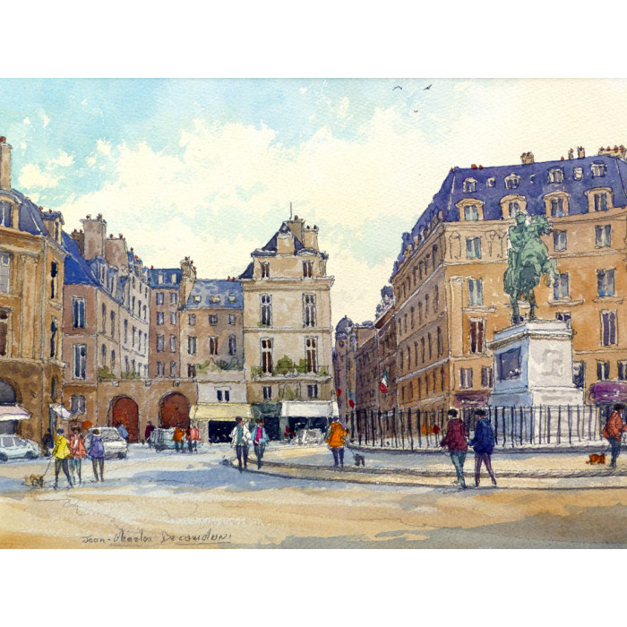 Place des Victoires à Paris -jean-charles-decoudun-aquarelle