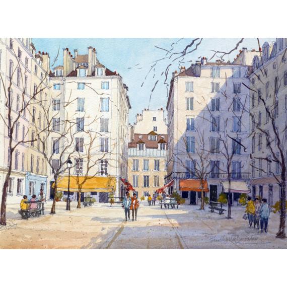 Place du Marché Saint-Catherine  à Paris-jean-charles-decoudun-aquarelle