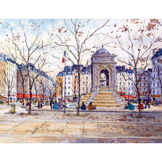 Place Saint Sulpice  à Paris -jean-charles-decoudun-aquarelle