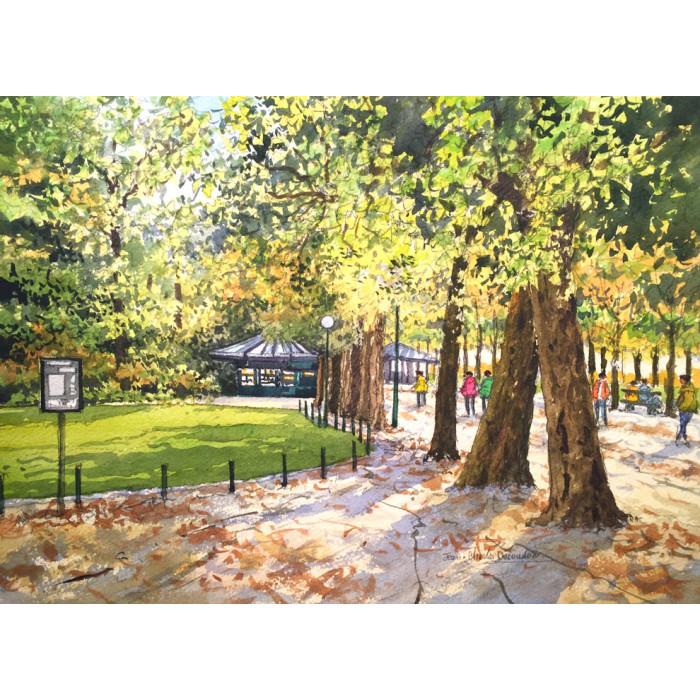 Jardins à Paris jean charles decoudun aquarelliste français
