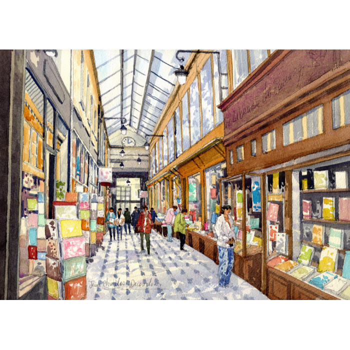 Le Passage Jouffroy  à Paris -jean-charles-decoudun-aquarelle-watercolor