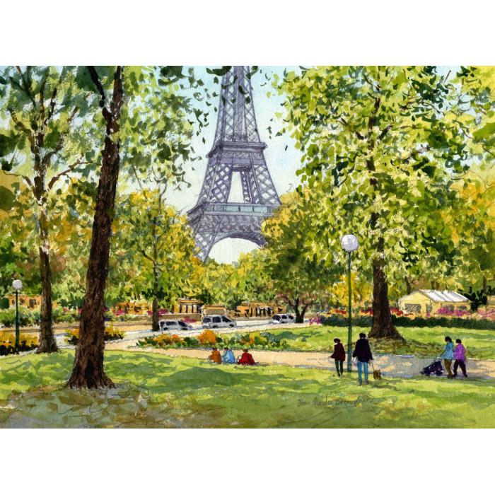 La Tour Eiffel et le Jardin du Trocadéro  à Paris -jean-charles-decoudun-watercolor
