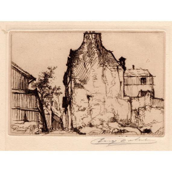 La rue Cortot à Montmartre -eugene-delatre-etching