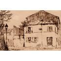 La Maison Rose Rue de l'Abreuvoir à Montmartre -eugene-delatre-etching