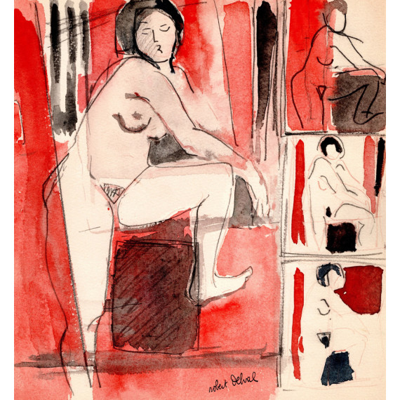 Étude de nu, 1980 -robert-delval-oeuvre-originale