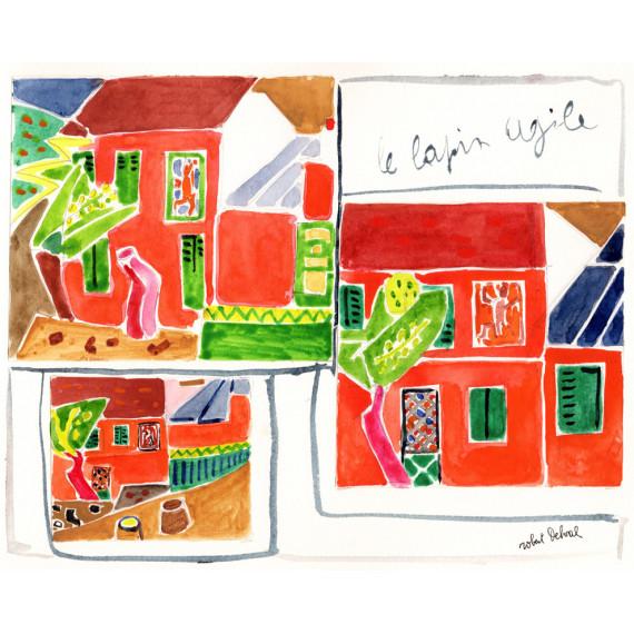 Études lapin agile, 1990 -robert-delval-oeuvre-originale