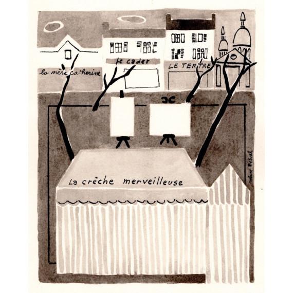 Montmartre, Place du Tertre,  la Crèche Merveilleuse 1988 -robert-delval-original-artwork