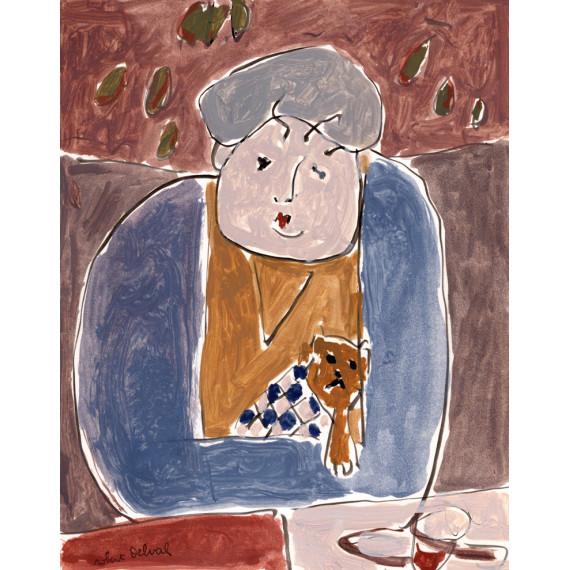 La dame au petit chien, 1991 -robert-delval-oeuvre-originale