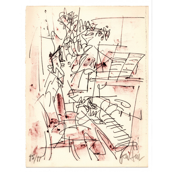 Lithograph - The duet Piano and violin