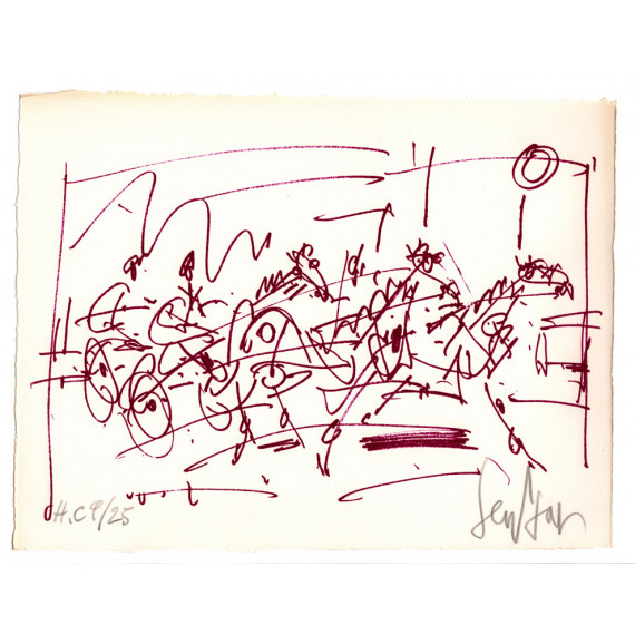 Lithographie - Les Sulkys - Course de chevaux-gen-paul