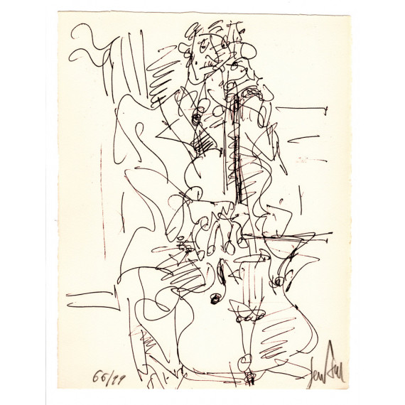 Lithograph - The Cellist