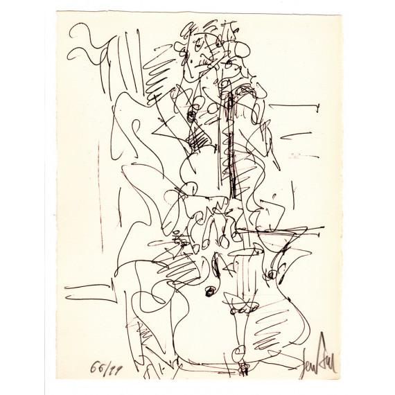 Lithographie - Le violoncelliste-gen-paul